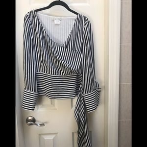 Alice+Olivia Black+White Striped Blouse S/M